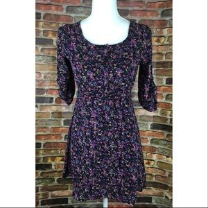 H&M Purple Floral Button Shirt Dress